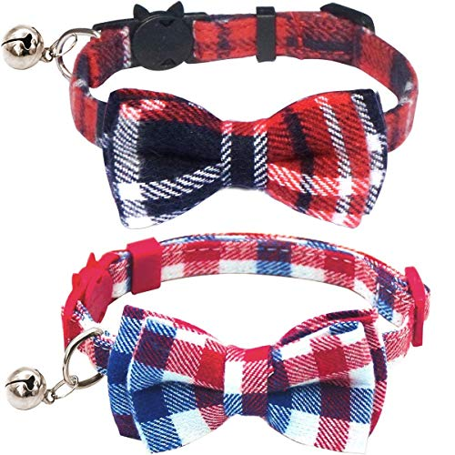 KUDES 2 Pack/Set Cat Collar Breakaway with Cute Bow Tie and Bell for Kitty and Some Puppies, Adjustable from 7.8-10.5 Inch ()
