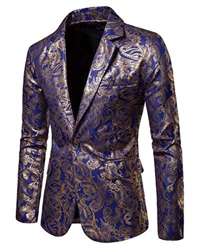 Fubotevic Mens Plus Size One Button Slim Dinner Party Wedding Glossy Dinner Jacket Wedding Blazer Prom Tuxedo 1 XXL