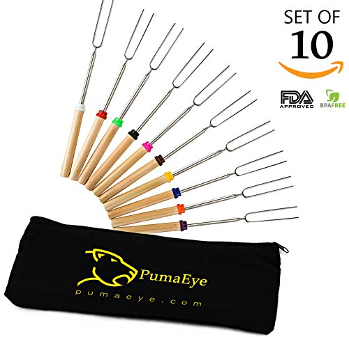 Roasting Sticks, Marshmallow Roasting Sticks, PumaEye 32-inch Stainless Steel Roasting Sticks for Fire-Pit, Bonfire Kids, Camping or Campfire [Absolutely Safe for Children]