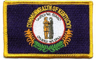 The Flag of KENTUCKY PATCH Made in the USA Each one is individually carded and sealed in a professional retail package 3.5 x 2.25 Inches Superior Quality Iron-On // Saw-On Embroidered Patch