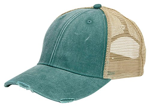 (Adams 6-Panel Pigment-Dyed Distressed Trucker Cap OS Forest/Tan)