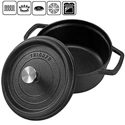 Voilamart Cast Iron Dutch Oven with Dual Handles and Lid, Covered Casserole Dish Cookware, 4.5 QT / 6 QT from Voilamart