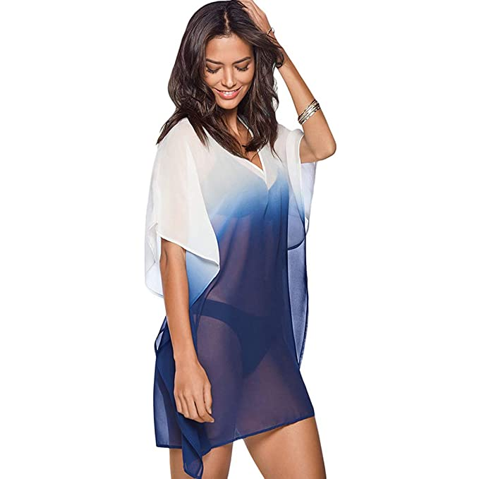 5a5e6be9f9 GERINLY Short Kaftan Cover Up Ombre Summer Poncho Top Sheer Swimsuit Cover  Beach Bikini Blouse Pool