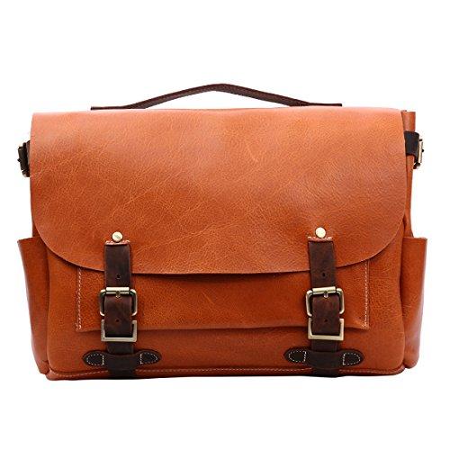 para trabajo capa clásico con naranja hombres La de de viaje color estilo diario cuero primera o bolso bandolera de naranja para Leathario qRaYAa