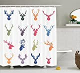 Ambesonne Antlers Decor Collection, Collection of Various Reindeer Antlers Illustration Hunter Wildlife Decorative Design, Polyester Fabric Bathroom Shower Curtain Set with Hooks, Orange Green