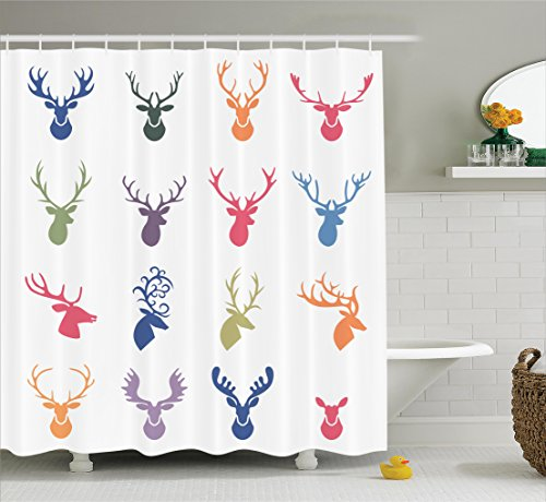 Ambesonne Antlers Decor Collection, Collection of Various Reindeer Antlers Illustration Hunter Wildlife Decorative Design, Polyester Fabric Bathroom Shower Curtain, 84 Inches Extra Long, Orange Green Antler Collection