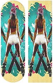 Wudan Skateboard Grip Tape Sheet 33x9inch Dress Girl Bubble Free Waterproof Scooter Grip Tape, Longboard Gript