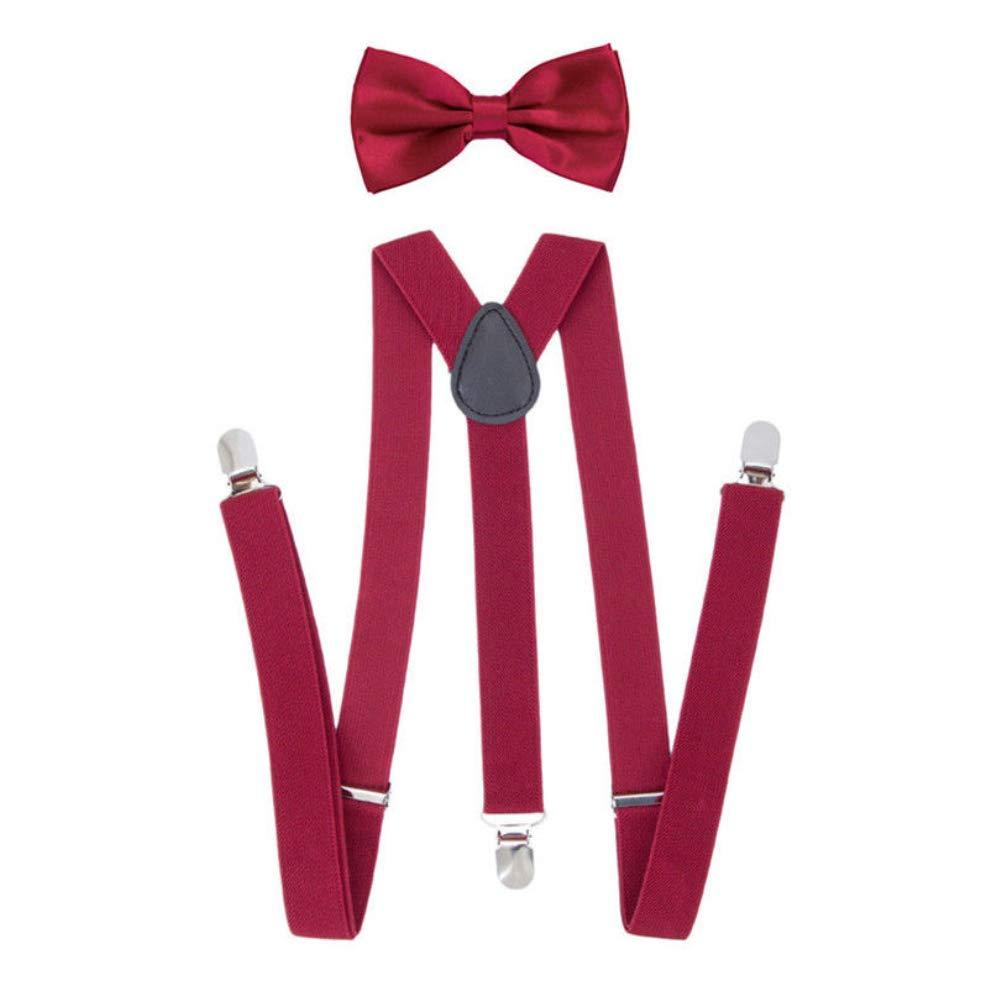 yanbirdfx Solid Color Unisex Clip-on Elastic Y-Shape Adjustable Suspenders Bowtie Set - Wine Red
