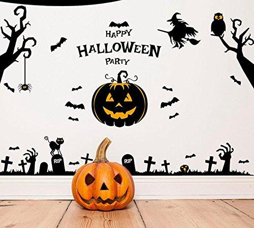 Halloween Ghost Witch Pumpkin WallpaperRemoveable DIY Art Mural Vinyl Waterproof Wall Stickers for Kids Room Dinning Room Decoration (Scary Halloween Desktop Wallpapers)