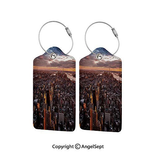 Name ID Labels Set for Travel Travel ID Bag Tag in Many Pattern,Aerial View of the Manhattan Skyline at Sunset Famous Financial District NYC 4 PCS Blue Orange White,With Full Privacy Cover w/Steel Lo