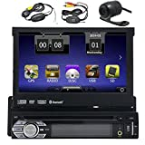 HD Wireless Backup Camera Eincar Single 1 DIN 7 inch Motorized HD Touchscreen Car Stereo Autoradio GPS CD DVD Player Receiver, Bluetooth, Detachable Front Panel With 8 GB Map Card+Wireless Remote