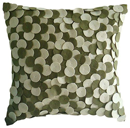"""The HomeCentric Handmade Olive Green Decorative Pillows Cover, Felt Applique Dotted Pillows Cover, 16""""x16"""" Cushion Covers, Square Felt Pillow Covers, Polka Dot Modern Pillow Cases - Olivey Spots"""