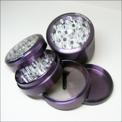 Sharpstone Large Herb Grinder Clear Top 4 Piece Purple and a Cali Crusher Press