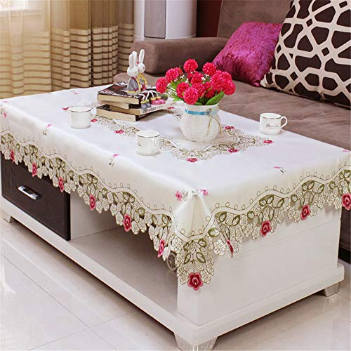 (ersgfv Family Hotel Catering Wedding White red Tablecloth with lace Silk Embroidery Floral Rectangular Tablecloth AC 175x260cm)