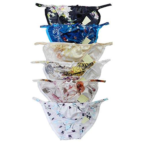 Panasilk 6Pieces Womens Silk String Bikini Flower Size S-XXL(26-41)