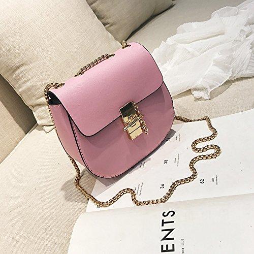 moda Pink Bolso de bolsa señoras rojo bloqueo Coreano nuevo caramelo casual marea de de hebilla bolso cadena Hombro vgw1Trxv