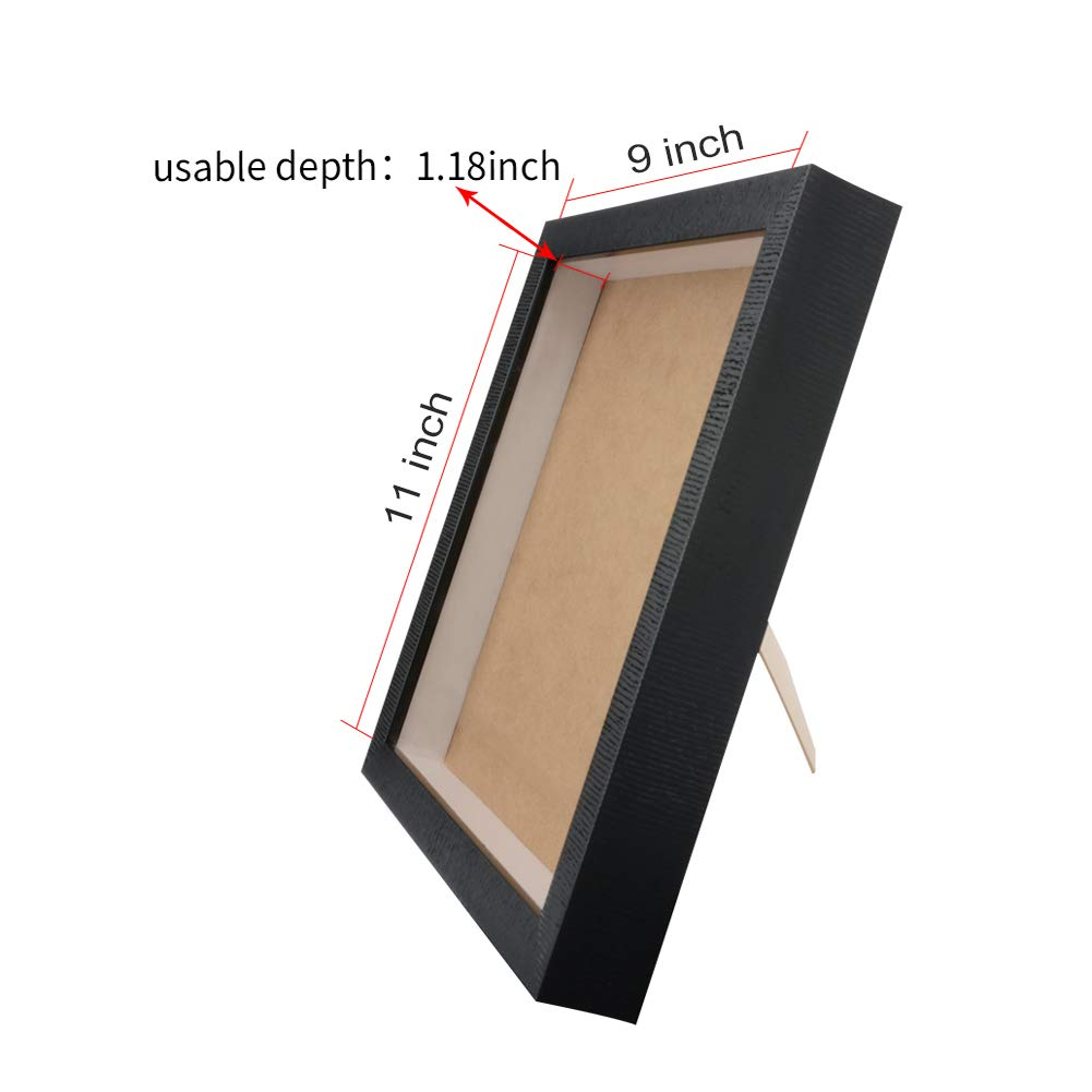 Orangehome 9 x 11 Shadow Box Frame Picture Frame Wall Display Case Memorabilia Pin Medal Display Case Milky House Black, 9 x 11 Inch