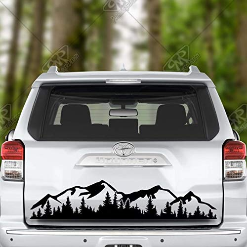 Maple Set Decal - Maple Enterprise Hiking Hike Mountains and Trees Black Vinyl Decal Sticker for Car Sides Doors Rear Window Bonnet Bumper Set of 2 (40