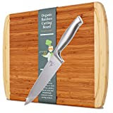 "Greener Chef Knife & Bamboo Cutting Board Value Gift Set - Best Housewarming Gift & Wedding Gifts for Couple - 8 Inch Stainless Steel - Extra Large Organic Wood Cutting Boards for Kitchen - 17""x12.5"""