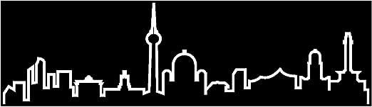 Samunshi Berlin Skyline Aufkleber Silhouette In 8 Größen Und 25 Farben 15x4 2cm Weiß Küche Haushalt