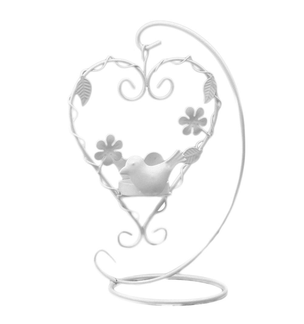 Dosige 1Pcs Heart-shaped Lights Vintage Style Candlestick Candle Birdcage Lanterns for Desktop Decoration for Wedding or Party(Black)