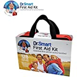 Dr.Smart First Aid Kit Soft Case   Trifold Design For Easy Access In Emergencies   128 Useful Supplies Like Bandages, Scissors, Gauzes, Trauma Pads & More   For Home, Car, Travel, Camping, & Sports