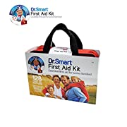 Dr.Smart First Aid Kit Soft Case | Trifold Design For Easy Access In Emergencies | 128 Useful Supplies Like Bandages, Scissors, Gauzes, Trauma Pads & More | For Home, Car, Travel, Camping, & Sports
