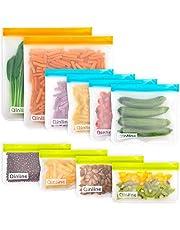 Reusable Food Storage Bags - 10 Pack BPA FREE Flat Freezer Bags(2 Reusable Gallon Bags + 4 Leakproof Reusable Sandwich Bags + 4 Food Grade Kids Snack Bags) Resealable Lunch Bag for Meat Fruit Veggies