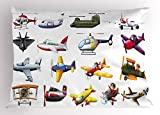 Lunarable Boy's Room Pillow Sham, Digital Representation of Aero Vehicles Aircrafts Commercial Planes Pattern, Decorative Standard King Size Printed Pillowcase, 36 X 20 Inches, Multicolor