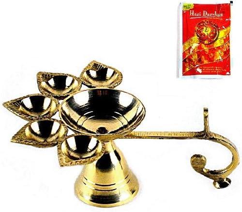 PANCH AARTI Hindu Puja Camphor Burner w Camphor Tablets 5 Face Brass Diya Lamp