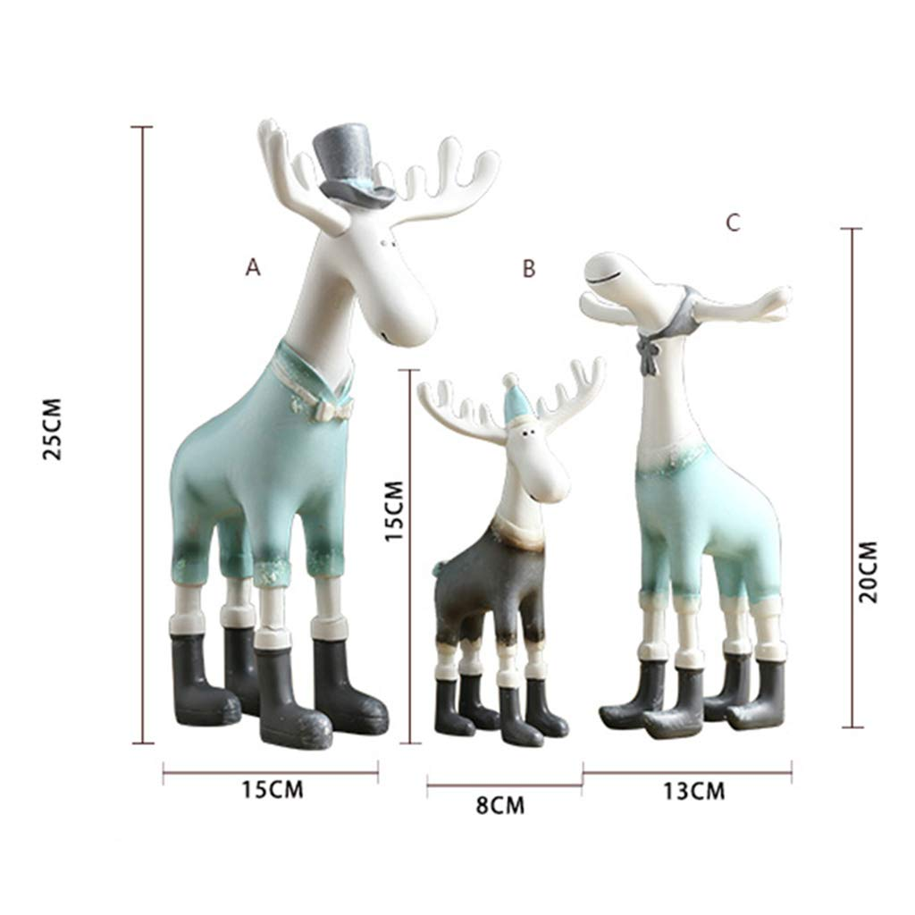 Ornaments for Home- Elk Family Three Ornaments Decoration Creative Living Room Indoor Children's Room Decoration 2515