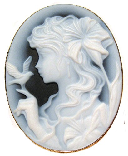 Cameo Broach Pendant Enhancer Lady Bird, Agate Stone Italian Sterling Silver Laser Carved Italian by cameosRus