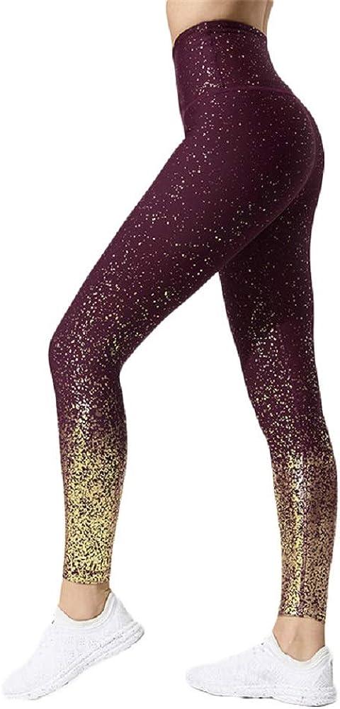 SotRong Leggings Deportivos Largos Para Mujer Pantalones de Yoga de Cintura Alta Brillo Brillante