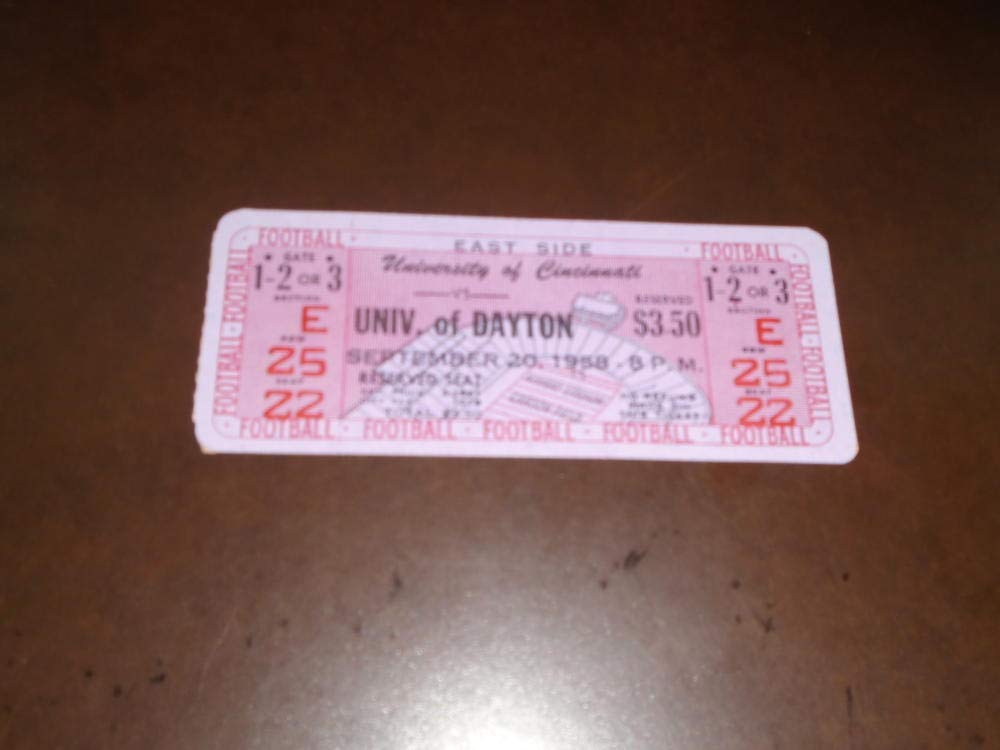 1958 DAYTON AT CINCINNATI COLLEGE FOOTBALL UNUSED FULL TICKET NEAR MINT