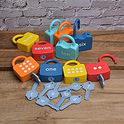 Ruiqas Learning Numbers Toy,Plastic Without BPA Locks Educational Numbers Set 10 Locks and 10 Keys Children Early Educational Cognitive Locking Preschool Toy for Toddlers Boys Girls: Home & Kitchen