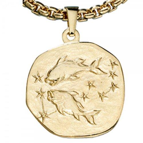 333/-g avec pendentif en forme de poisson pour noël **magnifique pendentif au motif signe astrologique des gémeaux en or