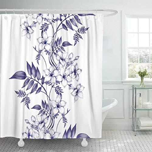 KJONG Japanese-Art Bathroom Shower Curtains 72x78 inches Jasmine Flowers Wallpaper Vintage Floral Floral Ornament Waterproof Fabric Bathroom Curtain Set of Hooks ()