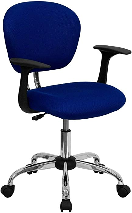 Flash Furniture Mid-Back Blue Mesh Padded Swivel Task Office Chair with Chrome Base and Arms