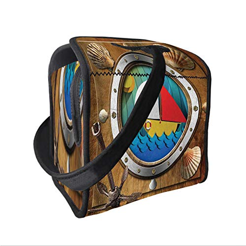 - Neoprene Lunch Tote Bag with Shoulder Strap,Anchor,Metallic Porthole with Bolts Seashells Rusty Anchor and Boat Journey Voyage Activity,Multicolor,for boys girls and adults
