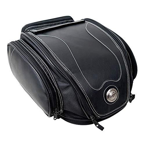 WildBee Large Capacity Retro Waterproof Motorcycle Leather Rear Seat Tail Bag Multifunctional Travel Pack
