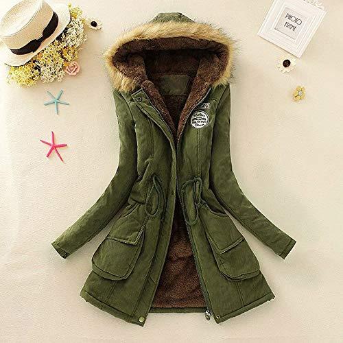 Trench Cappotto Da Pelliccia Jacket Verde Scuro Cappuccio Lungo Elecenty In Donna Parka Invernale Elegante Outwear Cardigan Con dBEwA7q