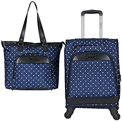 "Kenneth Cole Reaction Dot Matrix 600d Polyester 2-Piece Luggage Set Laptop Tote, 20"" Carry-on, Navy W/White Polka"