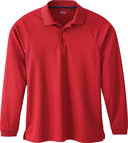 Men's E-Performance Long Sleeve Pique Polo Shirt, XL, Classic Red W / Classic...