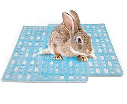 Niteangel 2 Packs Rabbit Playpen Feet Mats for Cage, Comes with 4 Fixed Tabs (Blue) Small Animal Playpen Mat