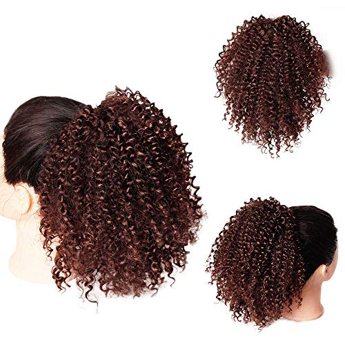 AISI BEAUTY Afro Puff Drawstring Ponytail Afro Kinky Curly Ponytails Clip in Hair Extensions Drawstring Ponytail for Black Women African American Kinkys Curly Drawstring Puff Hairpiece((Auburn Brown)