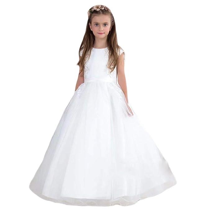 Hengyud White Communion Dresses For Girls Baptism Dress Short