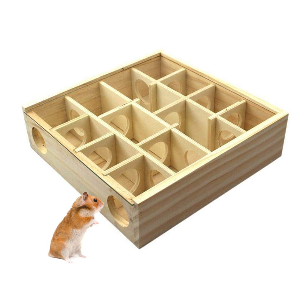Womdee Hamster Maze Toy, Wooden Maze Tunnel Toy with Plexiglass Cover, Mini Wood Hut House Cage Playground for Pet Dwarf Hamster/Gerbil/Cricetulu/Other Small Furry Animals