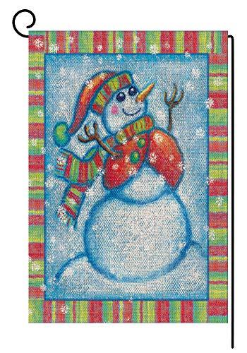 Watercolor Snowman - BLKWHT Watercolor Snowman Winter Garden Flag Double Sided 12.5 x 18 Inch Yard Home Outdoor Decor