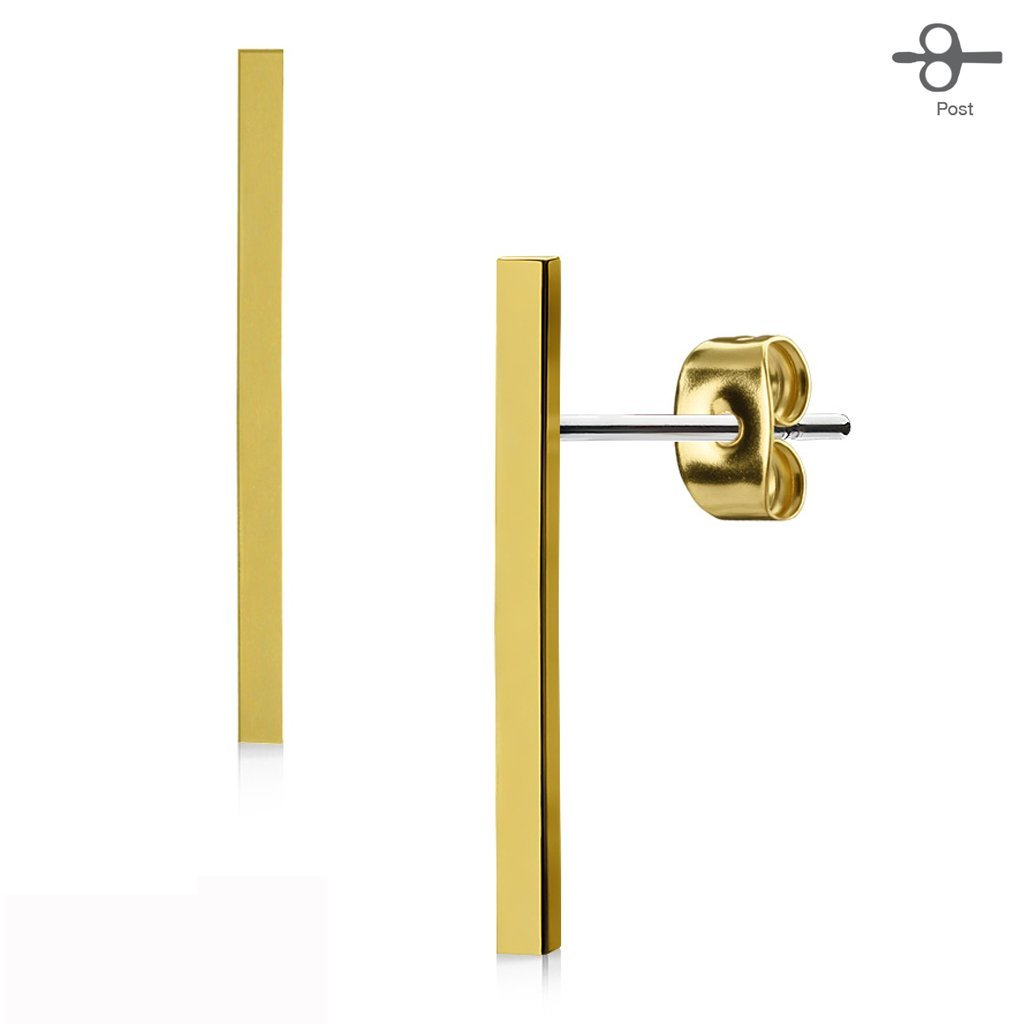 FifthCue Pair of Plain Long Bar 316L Surgical Steel Post Earring Studs- Choose Color JQEA-008
