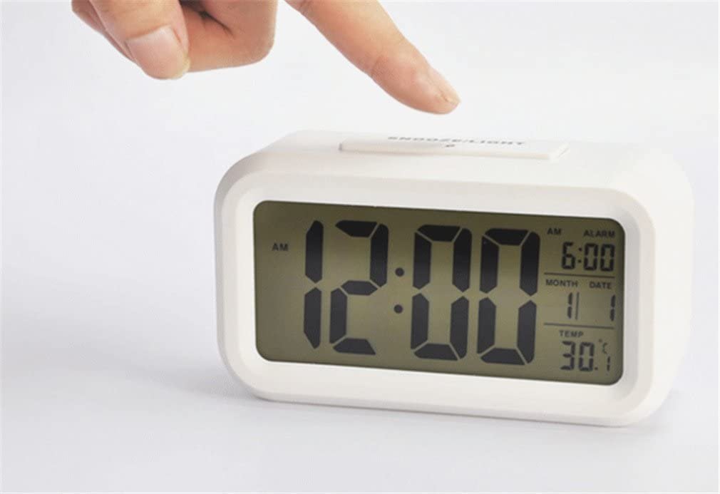 Data e Temperatura JS501 Sveglia Digitale,Sveglia Elettronica Sveglia Orologio Digitale da comodino con Snooze Allarme Grande LCD Schermo Sensore di Luce Segnalazione di Ora